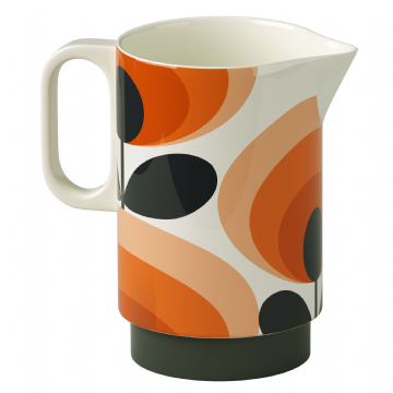 Orla Kiely - Piser Blodyn Hirgrwn Oren | Pitcher Orange Oval Flower